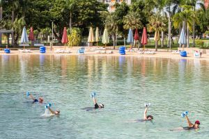 Aqua fitness in the Wave Lagoon - Accommodation Main Beach